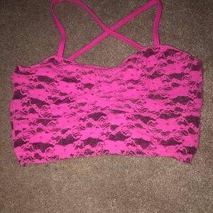 Pink lace sports bra